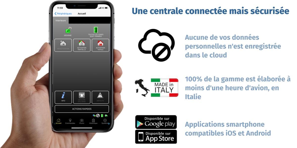 Centrale connectée et sécurisée, sans donnée sur le cloud et fabriquée en Italie