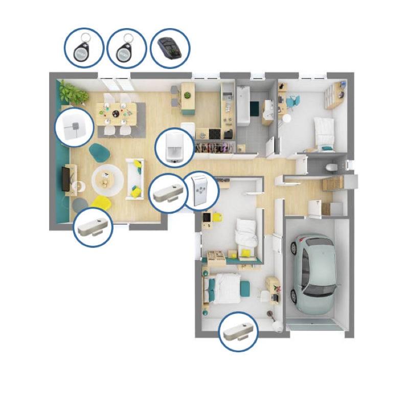 Nous positinnons les différents périphériques d'alarme sans fil aux bons endroits