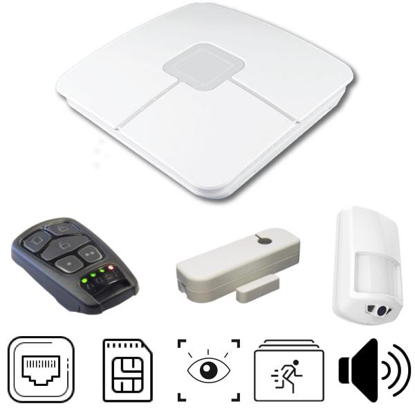 Pack alarme Connect avec centrale, détecteur d'ouverture, détecteur de mouvement à séquence photo et télécommande