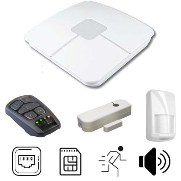 Pack alarme Connect avec centrale, détecteur d'ouverture, détecteur de mouvement et télécommande